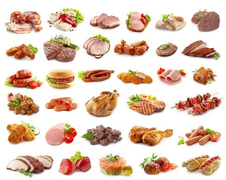 흰색에 고립 된 고기 제품의 다양한 종류
