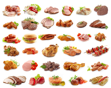 various kinds of meat products isolated on white