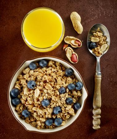 breakfast bowl: bowl of muesli and fresh berries, healthy breakfast