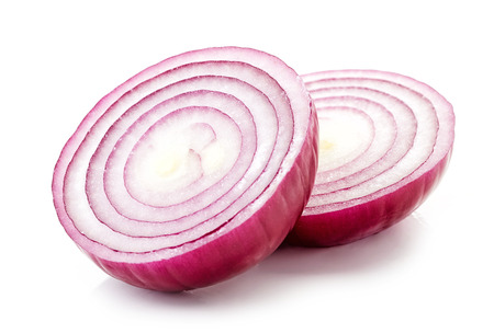 sweet and savoury: pieces of fresh red onion Stock Photo