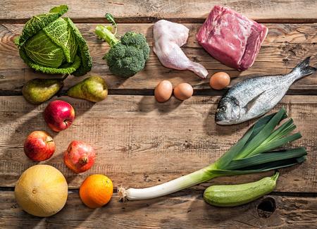 Raw gesunde Diät-Produkte für Paleo-Diät Standard-Bild - 36454290