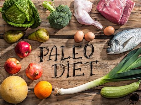 Raw gezond dieet producten voor Paleo dieet Stockfoto