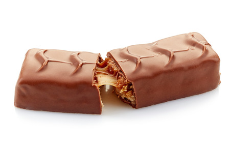 chocolate and caramel candies on a white background