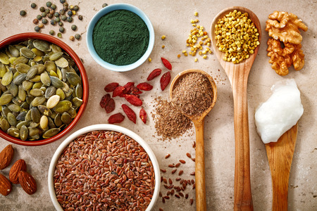 linseed: collection of healthy superfood, top view Stock Photo