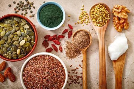 verzameling van gezonde superfood, bovenaanzicht Stockfoto