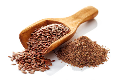 Flax seeds isolated on white background 写真素材