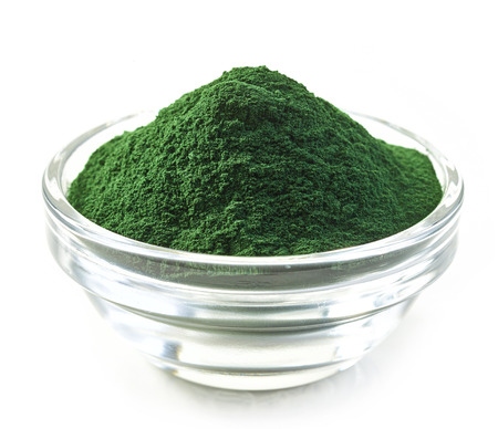 algae: bowl of spirulina algae powder isolated on white