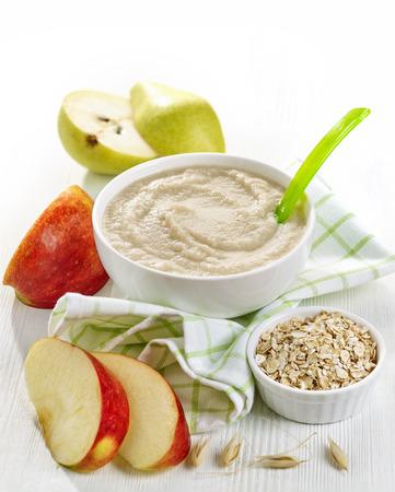 baby food: bowl of organic baby food, healthy breakfast porridge