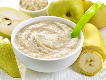 bowl of baby food, healthy breakfast porridge Stock Photo - 40630269
