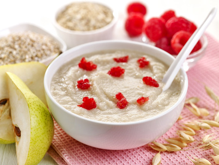 baby food: bowl of baby food, healthy breakfast porridge