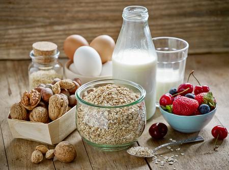 healthy breakfast: healthy breakfast ingredients on old wooden table