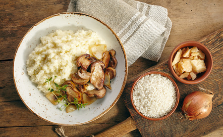 wild rice: plate of risotto with wild mushrooms