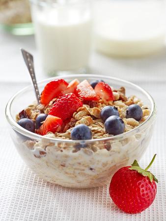 breakfast bowl: healthy breakfast, bowl of muesli with milk and fresh berries