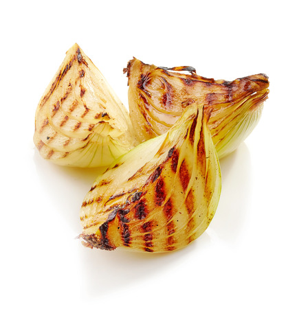 onion: grilled onion pieces isolated on white background