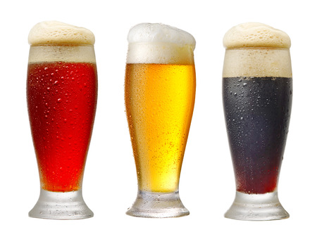 various glasses of beer isolated on white background Foto de archivo