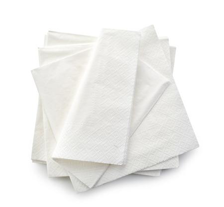 serviette: servilletas de papel aislados sobre fondo blanco, vista desde arriba Foto de archivo