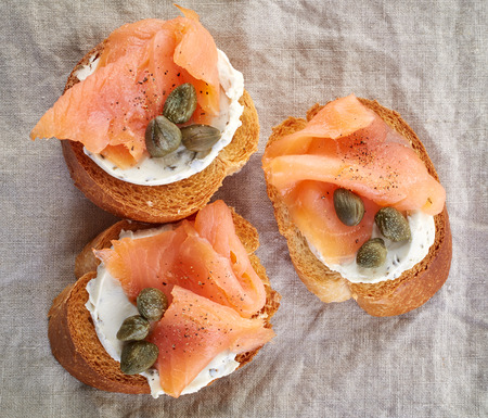 smoked: toasted bread slices with smoked salmon fillet and cream cheese
