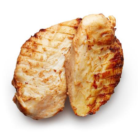 pollo a la plancha: Filete de pollo a la parrilla aislada en el fondo blanco
