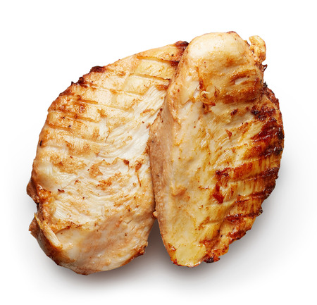 Grilled chicken fillet isolated on white background Stock Photo