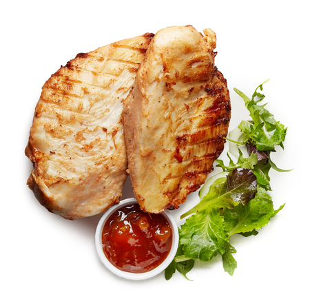 chicken fillet: Grilled chicken fillet isolated on white background Stock Photo