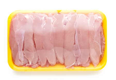 package: chicken meat package isolated on white background Stock Photo