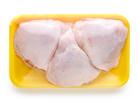 raw chicken: chicken meat package isolated on white background Stock Photo