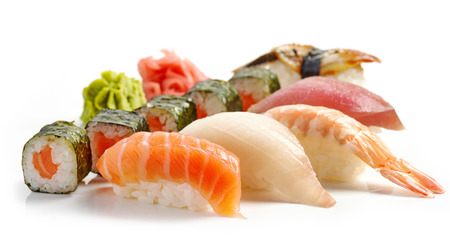 fish culture: various sushi isolated on white background