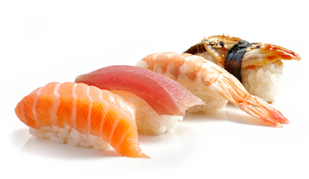 sushi restaurant: various sushi isolated on white background