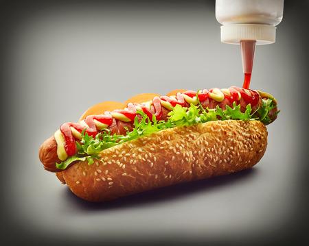 perro caliente: Perrito caliente con la salsa de tomate en el fondo gris oscuro