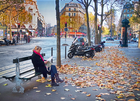 napoleon iii: Paris, France-November 15, 2015: Boulevard Haussmann in Paris, France. It is one of the wide tree-lined boulevards created in Paris by Napoleon III, it is mostly lined with apartment blocks. Editorial
