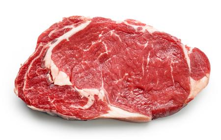 verse rauwe biefstuk op een witte achtergrond, bovenaanzicht Stockfoto