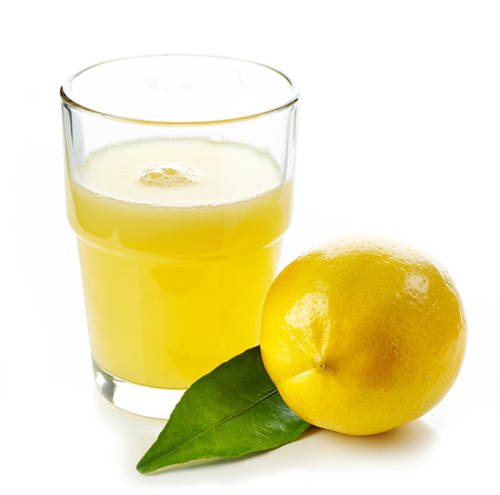 glass of lemon juice and fresh lemon fruit isolated on white background Stock Photo