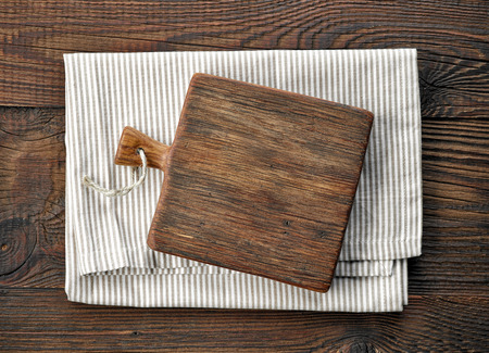 kitchen tool: wooden cutting board, top view Stock Photo