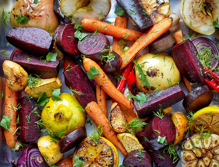 Various roasted fruits and vegetables, top view
