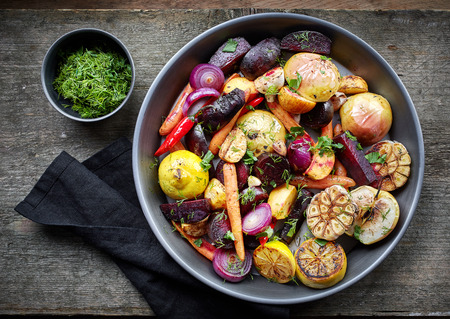 rutabaga: Various roasted fruits and vegetables, top view