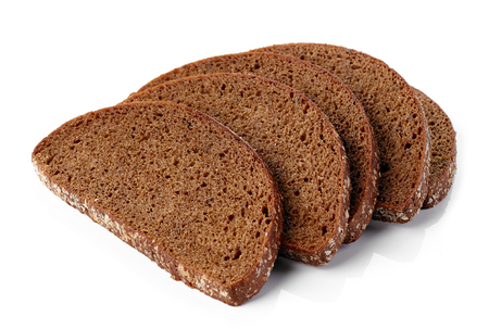 fresh rye bread isolated on white background Фото со стока