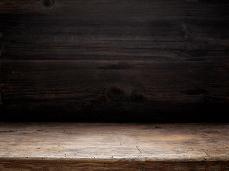 wooden table and dark wooden wall, cooking background