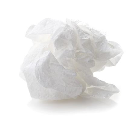 gebrauchte Papierserviette auf weißem Hintergrund Standard-Bild