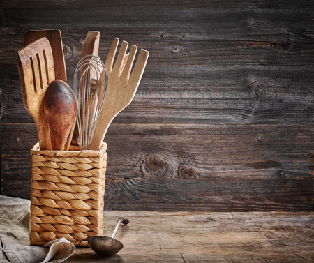 cooking utensil: cooking utensil on old wooden table