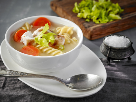 bowl of chicken and vegetable soup