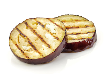 brinjal: grilled eggplant slices isolated on white background