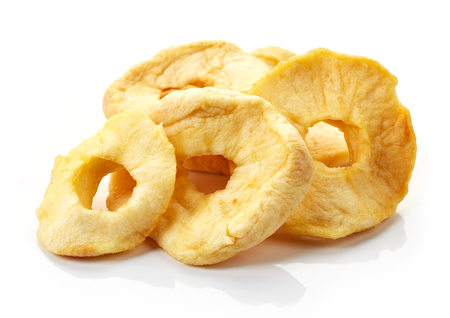 dried: dried apple rings isolated on white background
