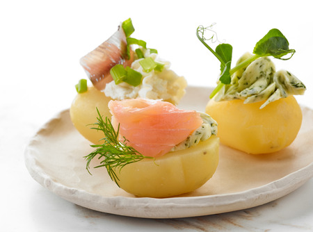 starter: plate of decorated boiled potatoes
