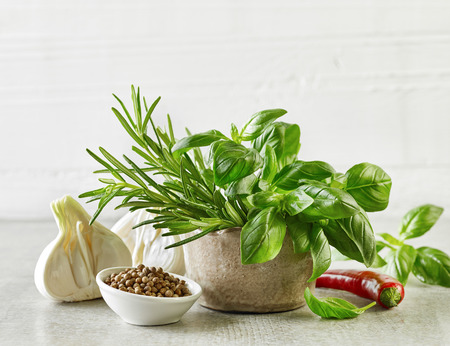 seasoning: fresh herbs and spices on gray kitchen table Stock Photo