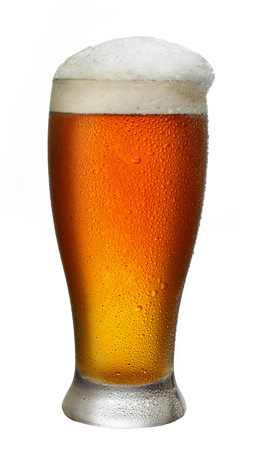 un bottled: wet glass of beer isolated on white background