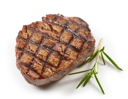 grilled beef steak and rosemary isolated on white background, top view