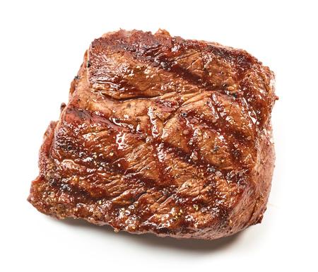 흰색 배경에 고립 구운 쇠고기 스테이크, 상위 뷰