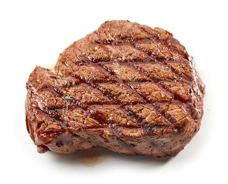 흰색 배경, 상위 뷰를 격리하는 구운 된 쇠고기 스테이크 스톡 콘텐츠