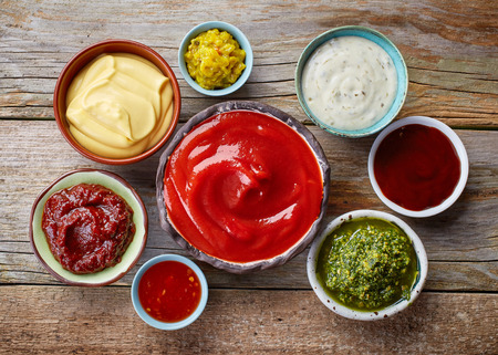 bowls of various dip sauces, top view