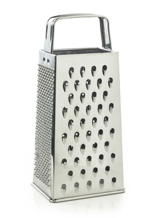 stainless steel background: stainless steel grater isolated on white background